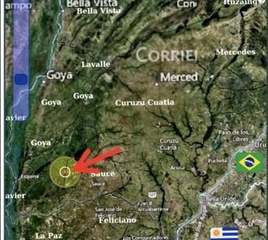 Mapa mostra localização da nuvem próxima ao Rio Paraná. (Foto: Senasa/Argentina)