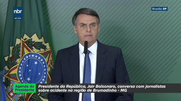 Pronunciamento do Presidente Jair Bolsonaro sobre o rompimento da barragem em Brumadinho MG.